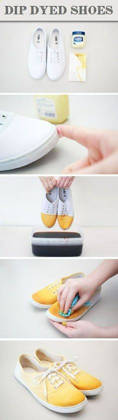 DIY Ombre Dip-Dye Shoes ~ White canvas shoes and fabric dye Dip Dye Shoes, How To Dye Shoes, Dyed Shoes, How To Paint Shoes, Diy Ombre, Ombre Nail, Fun Crafts, Diy And Crafts, Arts And Crafts
