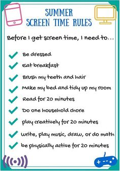 """Savvy Spending: Free """"Summer Screen Time Rules"""" Printable!"""