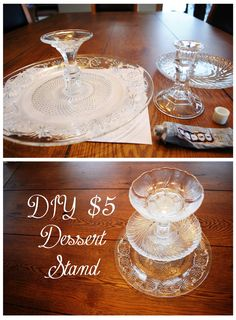 DIY 5 Tiered Dessert Stand instructions using thrift store plates and dollar candlesticks Diy Craft Projects, Diy Wedding Projects, Tiered Dessert Stand, Diy Dessert Stands, Dessert Table, Diy Wedding Reception, Wedding Table, Reception Ideas, Tree Wedding