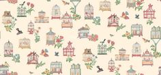 MODERN dolls house wallpaper unusual pink bird cages - quality paper from a well established company!
