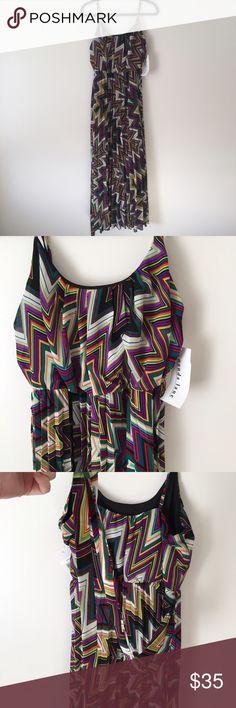 NWT Amanda Lane Multicolor Print Dress Scoop neck. Elastic at waist. Adjustable straps. Fully lined. Includes belt. Pleated skirt. Floor length. Size 6 Amanda Lane Dresses Maxi