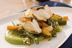 Timian & hvitløkstekt kyllingbryst med aspargessalat og brokkolikrem Potato Salad, Pork, Potatoes, Meat, Chicken, Ethnic Recipes, Tips, Kale Stir Fry, Potato
