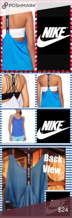 🔵 Nike NWT Nike racer back. Looks great with a sports bra. Color is light blue with navy blue strap. Nike Tops