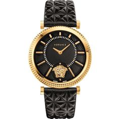 VERSACE VQG040015 V-Helix leather and gold-toned watch ($1,485) ❤ liked on Polyvore featuring jewelry, watches, silver, versace, versace watches, monarch butterfly jewelry, leather watches and butterfly jewelry