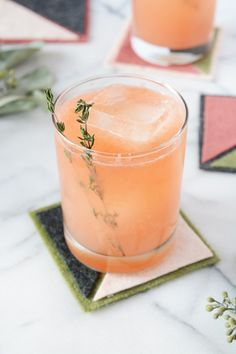 Grapefruit Thyme Spritzer and DIY Color Block Coasters | Oleander + Palm