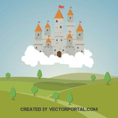 Castle in the clouds vector illustration