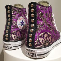 Converse All Star, Oriental Flowers Collection! #handmade by #matthewsmilano #custom #sneakers #flowers #converse #allstar #studs