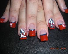 Since Cutex is headquartered near St. Louis, we're rooting for the STL Cardinals this baseball season. Baseball Nail Art, Football Nails, Fancy Nails, Cute Nails, Pretty Nails, Moms Best Friend, Manicure And Pedicure, Wedding Nails, Hair And Nails