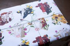 Cows & Flowers Wrapping Paper by TheAppleRoom on Etsy