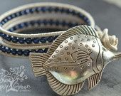 Silver Fish Beaded Pearl Leather Wrap Bracelet