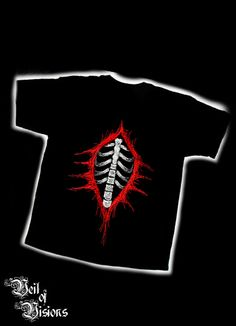Black t-shirt with ripped chest and skeleton design.     - Embroidered design will not fade or crack like print! £19