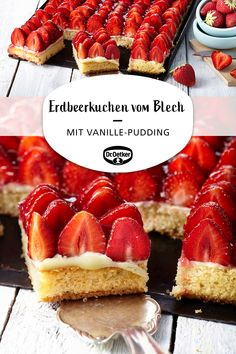 Erdbeerkuchen vom Blech Sheet metal strawberry cake: A sheet strawberry cake with vanilla pudding # Pecan Desserts, Desserts For A Crowd, Easy Desserts, Chocolate Desserts, Dessert Simple, Cute Thanksgiving Desserts, Thanksgiving Crafts, Thanksgiving Outfit, Cake Recipes