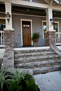 Porch Steps. Porch Step Ideas. Porch Step Material. Stone Porch Step. Brick Porch Step. #Porch #Step Via Cedar Hill Farmhouse.