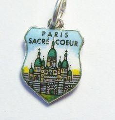 PARIS SACRE COEUR France Vtg Silver Enamel Shield Travel Charm for Bracelet #Charm
