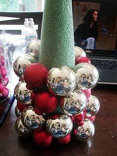 DIY ornament-tree (add burlap first then ornaments)