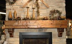 Hand hewn barnwood beams or timbers make excellent fireplace mantels. Available in any size needed. Reclaimed wood mantels have a natural distressed character. Rustic Fireplace Mantels, Home Fireplace, Fireplace Design, Fireplace Ideas, Mantel Ideas, Cottage Fireplace, Reclaimed Wood Mantle, Wooden Mantel, Brick Fireplaces