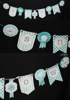 Snow banner up close; Stampin' Up! Banner kit