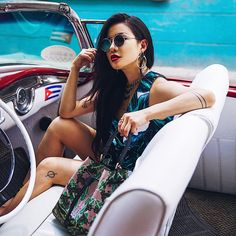 Furla goes to Cuba! We traveled to Havana with fashion influencers and Stay tuned for more pics of their trip Cuban Cars, Going To Cuba, Tropical Style, Lush Garden, Furla, Stay Tuned, Havana, Us Travel, Coachella