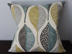 Grey Mustard Teal Pillow Cover by IWantThatPillow on Etsy