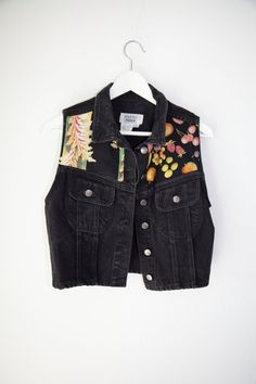 Customized Black Denim Vest With Floral And Fruit