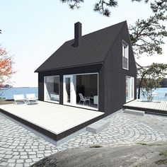 Saaristo cottage by Jarkko Könönen for Sunhouse Small Cottage Homes, Small Cottages, Cottage Plan, Tiny Homes, Black House Exterior, Cottage Exterior, Modern Tiny House, Tiny House Design, Tiny Houses For Sale
