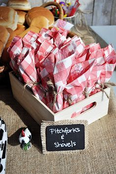 Great Farm Party Ideas!!  This would be great for the Saturday Celebration - picnic on the grounds.