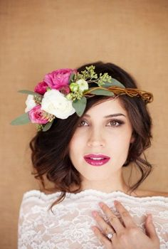 Avant-Garde Bridal: This colorful, off-center floral crown would make a bold and romantic statement on your wedding day.