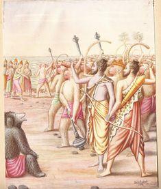 Lord Rama's Abayahahastha at Vibeeshna on joining his side. Ram Katha, Krishna Art, Hare Krishna, Hindu Rituals, Sri Rama, Pagan Gods, Jai Hanuman, Lord Shiva Painting, God Pictures