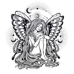 Young Girl Butterfly With Long Wavy Hair Falling Down Stars And Moon Nude Modest