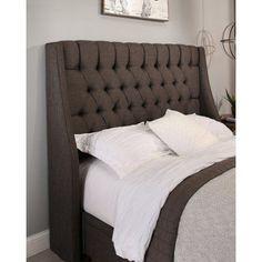 Republic Design House Cambridge Wingback Upholstered Headboard Gray, Size: King/California King - 13652
