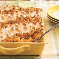 Make-Ahead Sweet Potato Casserole. Who says you have to slave in the kitchen all day? Make this casserole a day early, freeze it before you put the toppings on, and then heat it back up when you're ready for it!