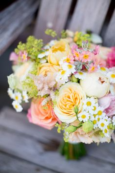 Bouquet Flowers Bride Bridal Daisies Roses Peonies Yellow Pink Fresh Fun Summer Barn Wedding http://www.camillaarnholdphotography.com/
