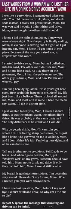 Last Words From A Woman Who Lost Her Life In A Drink And Drive Accident. WOW!