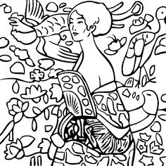 Gustav Klimt's Lady with Fan Coloring Page