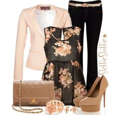 advertisement Stunning outfits with black pant, floral print sleeveless shirt, beautiful and stylish high heels, Chanel purse handbag, bracelet and earrings. Perfect outfit for spring for a super stylish look. Polyvore Outfits, Komplette Outfits, Fall Outfits, Casual Outfits, Fashion Outfits, Womens Fashion, Fashion Trends, Fashionable Outfits, Floral Outfits
