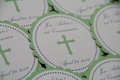 Communion Baptism Christening Party Favor Tags Sage Green Cross set of 12 by Belleza e Luce on Etsy, $5.00