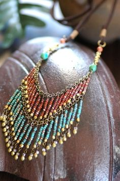 Seed bead necklace with chain