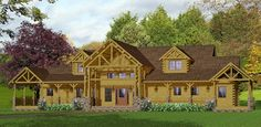 Log Home Floor Plans : Western (Excellent frontage and design setup. Now just about twice as big, with twin connected wings.)