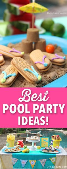Have a splashing good time this summer with these easy Pool Party Ideas. Cute flip flop cookies, party printables, easy treats and more! A pool party is a great way to celebrate summer. You'll love the fun food dessert ideas. Pool Party Cakes, Pool Cake, Pool Party Decorations, Pool Party Treats, Toddler Pool Parties, Pool Party Kids, Bolo Crossfit, Sommer Pool Party, Flip Flop Cookie