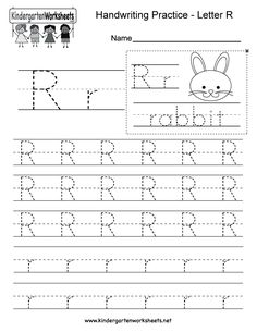 "This is a letter R tracing worksheet. Children can trace uppercase and lowercase letters and the word ""rabbit."" You can download, print, or use it online. Kindergarten Handwriting, Handwriting Practice Worksheets, Handwriting Analysis, Handwriting Alphabet, Improve Handwriting, Kindergarten Readiness, Preschool Kindergarten, Preschool Activities, Free Printable Alphabet Worksheets"
