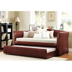 Faux Leather Daybed with Roll-Out Trundle, Wine Red -- Walmart