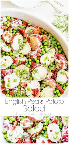 English Pea and Potato Salad is a light, fresh spring potato salad recipe with bright English peas, bacon, dill, and a creamy vinaigrette that is perfect side dish for Easter. Winter Salad Recipes, Spring Recipes, Healthy Salad Recipes, Easter Dinner Recipes, Potluck Recipes, Party Recipes, Pea Recipes, Side Dish Recipes, Potato Recipes