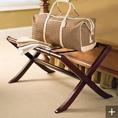 Large Mahogany and Leather Luggage Rack $149