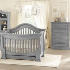 Moon Gray Davenport 2 Piece Nursery Set - 3-in-1 Convertible Crib and 5 Drawer Tall Dresser by Baby Appleseed FREE SHIPPING