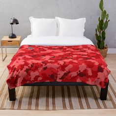 'Red Camouflage design' Throw Blanket by MidnightBrain Duvet Bedding, Bed Covers, Home And Living, Home Art, Red Roses, Home Goods, Xmas, House Design, House Styles