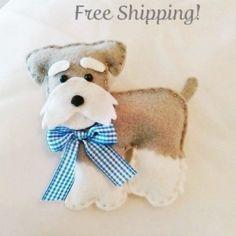 Felt Miniature Schnauzer Plush Ornament, Felt Dog, Dog Plush, Dog Ornament