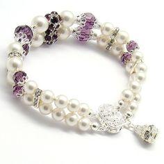 Double Strand Bracelet,Amethyst White Pearl Swarovski,Bridal Jewelry