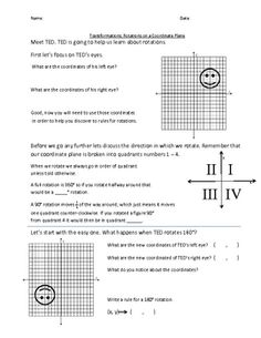 This is a great introduction lesson to rotations on a coordinate plane. It helps students discover the rules for a 90, 180 and 270 degree rotation....