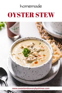 Don't be fooled by the simplicity of this recipe, this family favorite oyster stew is the best I've ever had! Unlike many oyster stew recipes, ours call for a little bit of potato, which makes this stew stick to your ribs satisfying without dilutin Oyster Chowder, Oyster Soup, Seafood Recipes, Soup Recipes, Cooking Recipes, Recipies, Stewed Potatoes, Oyster Stew With Potatoes Recipe, Oyster Recipes