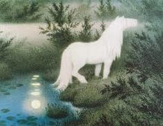 """""""Nøkken"""" as a white horse, look for young people, girl and boy. Teodor Kittelsen."""